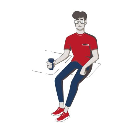 young man sits at a table and holds a glass. flat isolated vector drawing