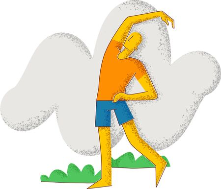 A man goes in for sports. Healthy lifestyle. Minimalism style illustration. Standard-Bild