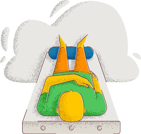 the man lies on the bed and put his feet on the roller. relaxation. minimalistic style illustration.