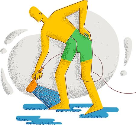 A man takes a shower. Hygiene and healthy lifestyle. Minimalism style illustration