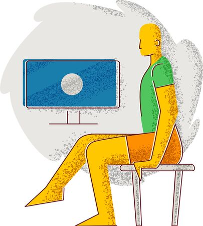 A man sits on a chair in front of the TV. Minimalism style illustration