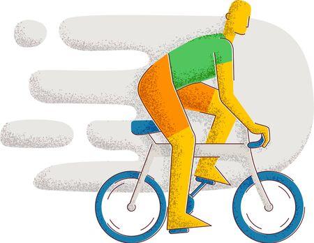 A man rides a bicycle. Healthy lifestyle. Minimalism style illustration Standard-Bild