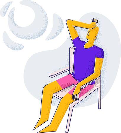 A man is sunbathing. Healthy lifestyle. Minimalism style illustration