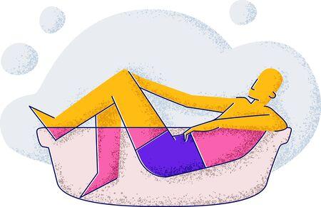 a man bathes in a bath. Hygiene and healthy lifestyle. Minimalism style illustration Standard-Bild