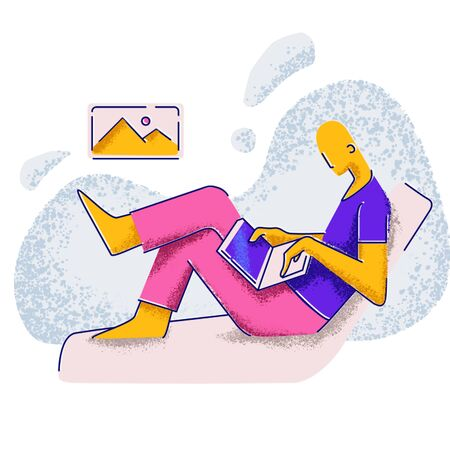 A man sits on a sofa and holds a laptop. People and social networks. Minimalism style illustration. Zdjęcie Seryjne