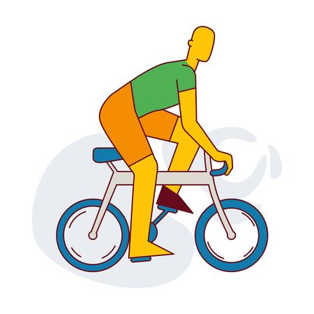A man rides a bicycle. Infographics. Healthy lifestyle. Flat vector isolated illustration