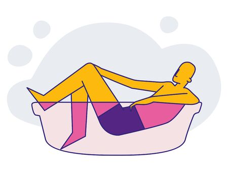 The man lies in the bathroom. Hygiene and healthy lifestyle. Infographics. Flat vector isolated illustration