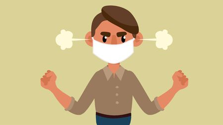 young man in a medical mask is angry. Vector 2D illustration