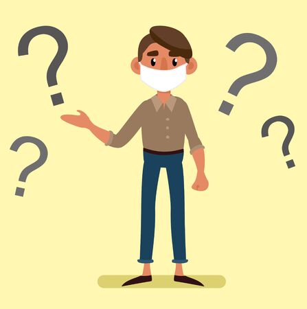 young man in a medical mask asks questions. Vector 2D illustration Illustration