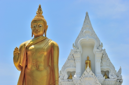 The standing buddha statue and white temple as background