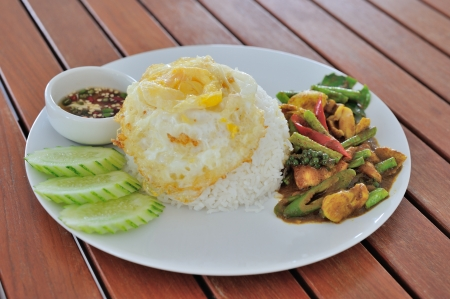 One of the most favorite Thai foods, stir fried chilli paste with chicken and cowpea beans Stock Photo