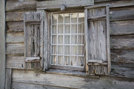 casement: Very old wooden window casement and window with shutters Stock Photo