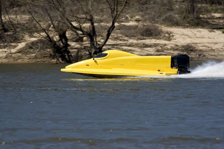 Race boat on the water in Chattahoochee, Florida Stock Photo