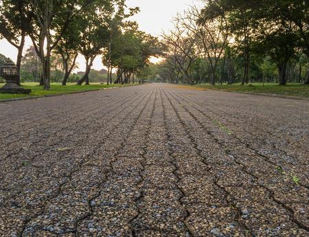 thialand: Sunrise on the road in Phutthamonthon Nakhon Pathom Province of Thailand, west of Bangkok.