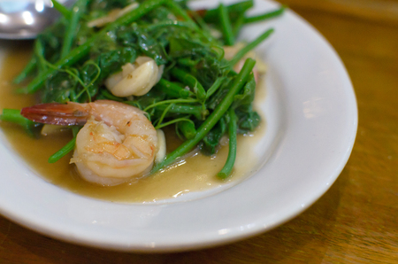 A Shrimp on the Stir-Fried Chinese Water Cress.