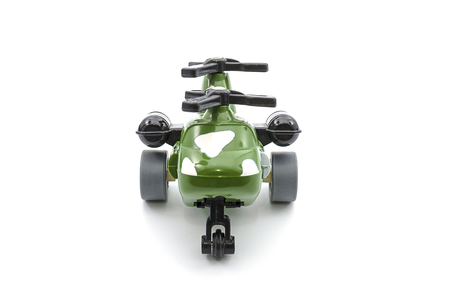 plastic soldier: A Military Helicopter on white isolated. Stock Photo