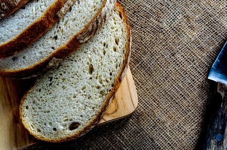 A Sliced Pain De Campagne Au Levain has cooking and ready to enjoy eating on holiday time.