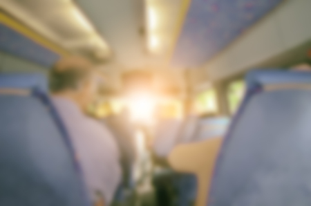 Tourist has talking about journey and travel in the bus with happy time. Blurred Background Concept.