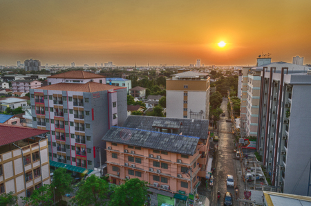 Editorial: Bangkok City, Thailand, 22th March 2017. Apartment and House under sunset time in Bangkok Thailand.