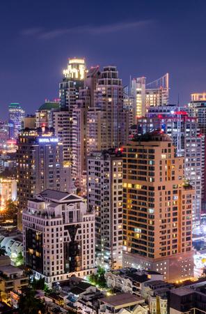Editorial: Bangkok City, Thailand, 30th March 2017. Bangkok City has city of business and communication in the night at Siam Bangkok Thailand.