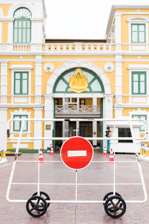 No entry and pass red sign to the palace in Bangkok Thailand Stok Fotoğraf