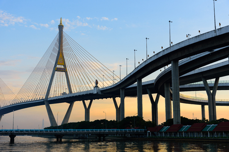 The Bhumibol Bridge with blue sky and sunset in the evening at Bangkok Thailand.