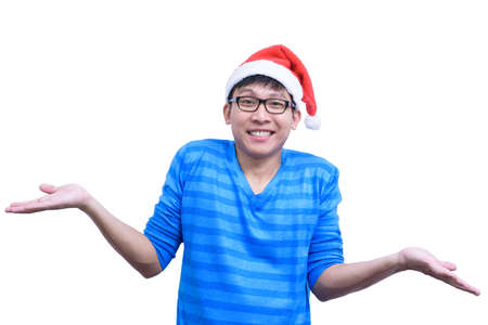 Asian handsome man with blue shirt and eyeglasses has ignore responsibility isolated on white background with copy space. Stockfoto