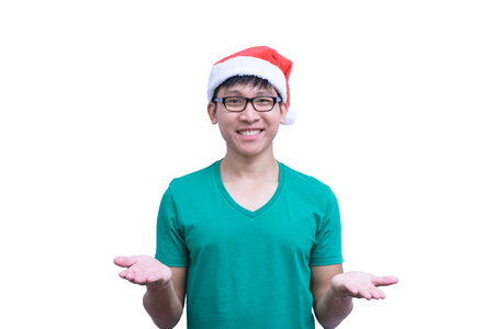 Asian handsome man with green shirt and eyeglasses has ignore responsibility isolated on white background with copy space.