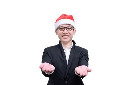 Business man with Christmas festival themes isolated on white background.