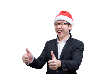 Business man has thumb show with Christmas festival themes isolated on white background.