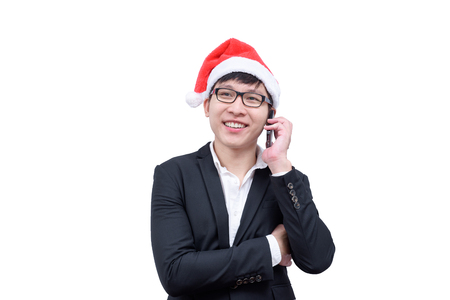 Business man has talking and laughing with Christmas festival themes isolated on white background. Stock Photo