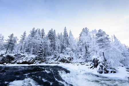 The river in winter season at Oulanka National Park, Finland.