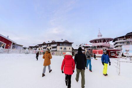 Editorial: Rukatunturi, Finland, 28th December 2018. Rukatunturi ski jumping hill at Ruka ski in winter season at Rukatunturi, Finland.