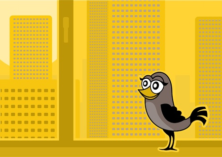 Bird at a window in the autumn in a city Illustration