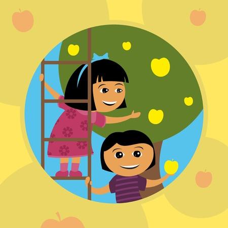 children in a garden Stock Vector - 10799812