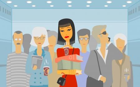 people in elevator: People in the elevator