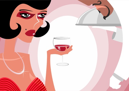 The woman at restaurant drinks wine Stock Vector - 18386214