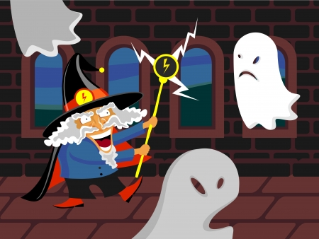 wizard and ghosts