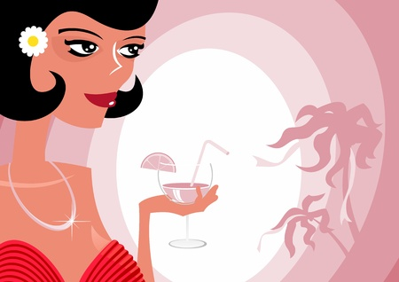 Girl and  cocktail Stock Vector - 18507425