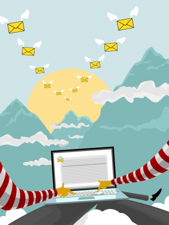 Flying email Stock Vector - 18686726