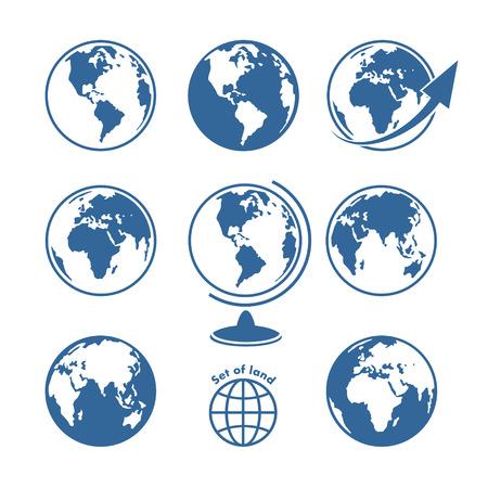 world globe map: Set of land Illustration