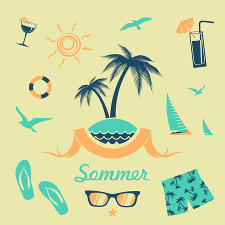 Set of elements for design summer beach holiday Vector