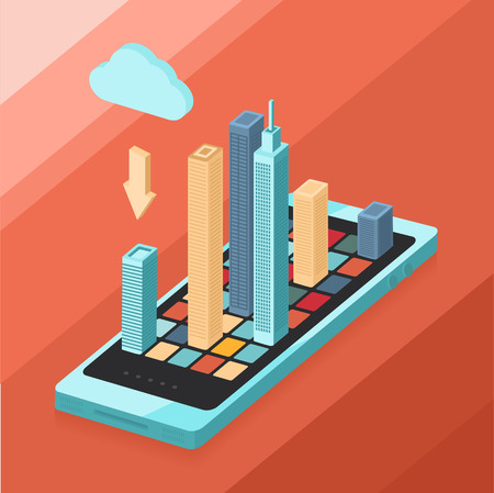 Modern phone is a city in your pocket Vector