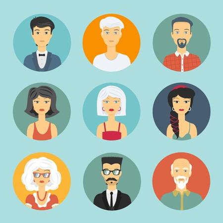 mensen kring: Avatar mensen cirkel icoon voor design profielen