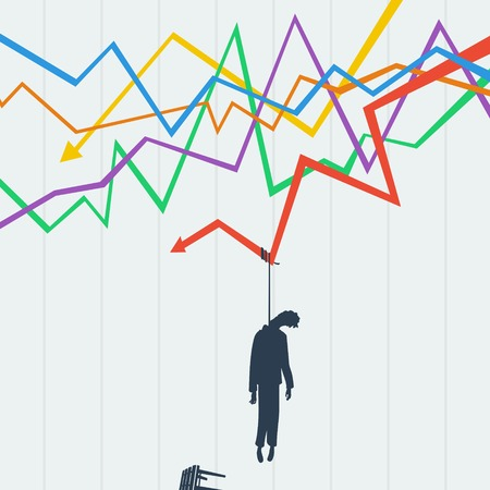 stock trader: Problems trader on the stock exchange, it killed crisis Illustration