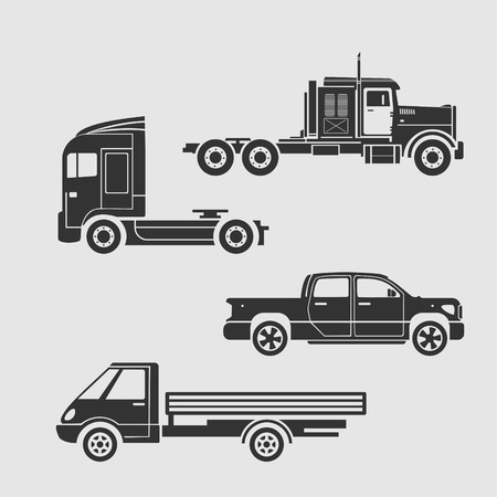 nonexistent: Set of silhouettes of trucks. Depicted prototypes nonexistent cars Illustration