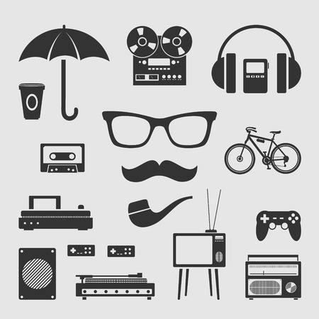 Set for various hipster retro appliances and electronics Vector