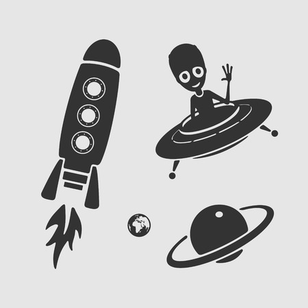 Ufo space character set for children skin Vector