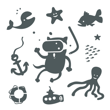 Set of sea characters for nursery items Vector