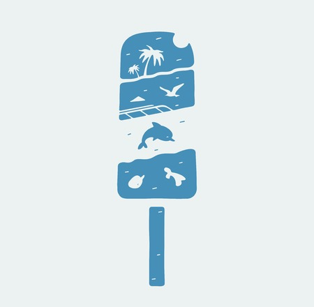 symbol ice cream and summer holidays on the water Illustration